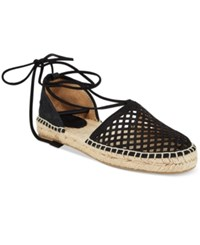 Frye Women's Leo Perforated Ankle Tie Espadrille Sandals Women's Shoes Black