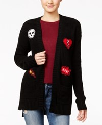Hippie Rose Juniors' Patched Open Front Cardigan Black