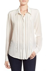 Paige Denim 'Brinley' Pleat Front Silk Shirt White