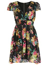 Pussycat Floral Print Crossover Neck Dress Black