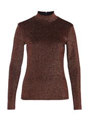 Hallhuber Lurex Long Sleeve Brown