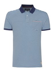 Criminal Clint Stripe Short Sleeved Polo Navy
