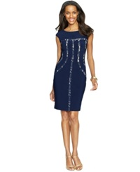American Living Boat Neck Lace Trim Dress Navy