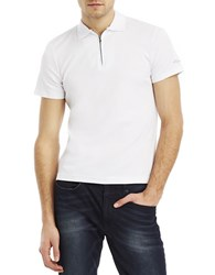 Kenneth Cole Quarter Zip Polo Shirt White