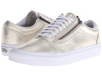 Vans Old Skool Zip Metallic Leather Wheat Gold True White Lace Up Casual Shoes Metallic Leather Wheat Gold True White