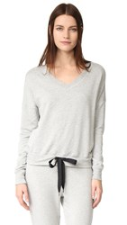 Beyond Yoga Cozy Fleece Rib Panel Sweatshirt Heather Grey
