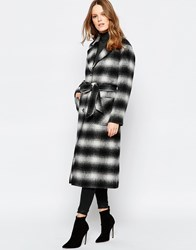 Helene Berman Button Down Belted Coat In Black Shadow Plaid Black White
