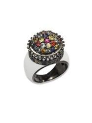 M.C.L By Matthew Campbell Laurenza Multicolored Sapphire And Sterling Silver Flower Pot Ring Silver Multi
