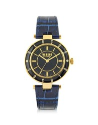 Versace Versus Logo Gold Tone Stainless Steel And Dark Blue Embossed Leather Strap Women's Watch