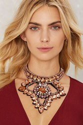 Turning Point Jeweled Collar Necklace Peach 74345