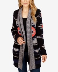 Lucky Brand Open Front Shawl Collar Cardigan Grey Multi