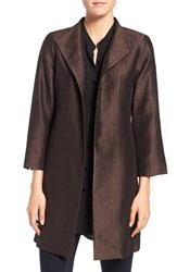 Eileen Fisher Women's Silk Blend High Collar Coat Clove