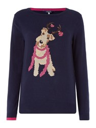 Joules Christmas Intarsia Knit Jumper Navy