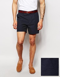 Asos Slim Shorts In Polka Dot Navy