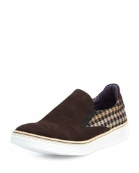 Robert Graham Hanover Check Suede Slip On Sneaker Brown