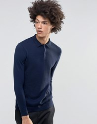 Weekday Gid Polo Neck Jumper Textured Knit In Dark Blue Dark Blue 73 216
