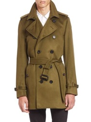 Burberry Kensington Olive Green Cashmere Trench Coat