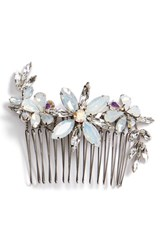 Camilla Christine Large Crystal Flower Comb Metallic Silver