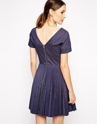 Antipodium Straight Edge Pleated Dress With Zip Back Blue