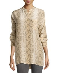 Equipment Melodie Snake Print Silk Blouse Khaki