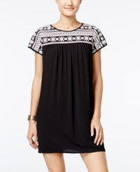 Trixxi Juniors' Embroidered Shift Dress Black White Combo
