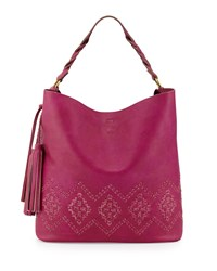 Isabella Fiore Mary Diamond Stitched Leather Hobo Bag Magenta Pink
