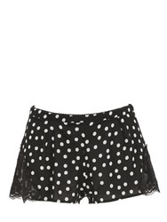 Dolce And Gabbana Polka Dot Silk Georgette Lace Shorts