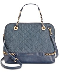 Tommy Hilfiger Cassidy Quilted Denim Dome Satchel