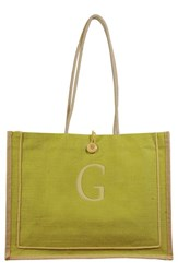 Cathy's Concepts 'Newport' Personalized Jute Tote Green Green G