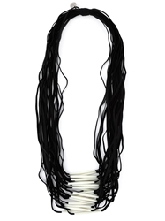 Maria Calderara Resin Tube Multiple Strand Necklace Black