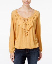 American Rag Ruffled Lace Up Peasant Blouse Only At Macy's Mustard