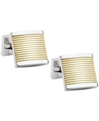 Ike Behar Two Tone Horizontal Striped Cufflinks Multi