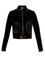 Saint Laurent Stud Embellished Cropped Velvet Jacket Black