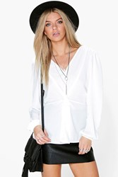 Boohoo Knot Front Blouson Sleeve Top Ivory