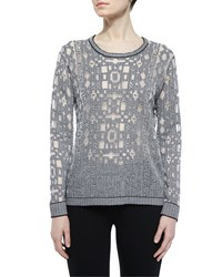 Parker Robinette Geometric Pullover Sweater Black White