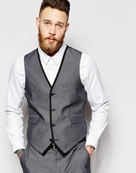 Asos Slim Fit Waistcoat With Tipping Navy