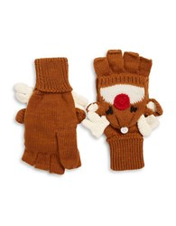 Collection 18 Reindeer Convertible Gloves Brown