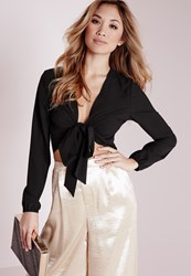 Missguided Tie Front Cropped Blouse Black Black