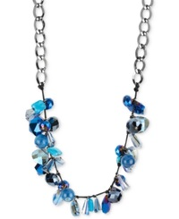 Macy's Haskell Necklace Hematite Tone Blue Faceted Shaky Bead Frontal Necklace