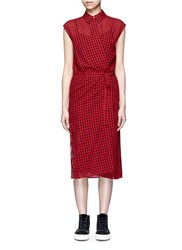 Alexander Wang Check Virgin Wool Blend Wrap Shirt Dress Red Multi Colour