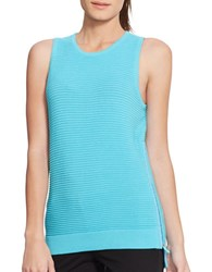 Lauren Ralph Lauren Ribbed Zip Tank Blue