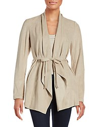 Saks Fifth Avenue Black Belted Faux Suede Jacket Nude