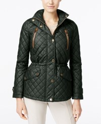 Michael Kors Petite Faux Leather Trim Quilted Barn Jacket Dark Olive