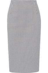 Michael Kors Gingham Stretch Cotton Pencil Skirt Black