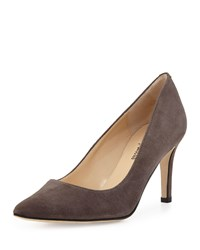 Neiman Marcus Cissy Pointed Toe Suede Pump Gray