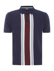 Merc Men's Short Sleeve Vertical Stripe Polo Navy