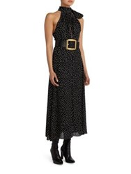 Saint Laurent Polka Dot Halter Dress Black Off White