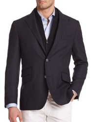 Corneliani Solid Virgin Wool Sportcoat Dark Blue