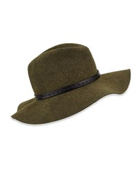 Rag And Bone Wool Felt Wide Brim Fedora Hat Green Multi