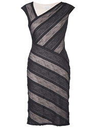 Chesca Striped Sheer Lace Dress Black